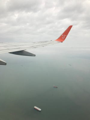 チェジュ航空の飛行機内からの写真