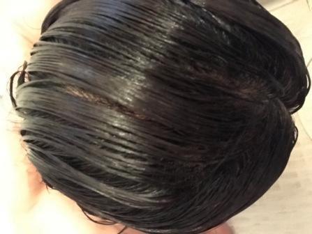 ポーラの白髪染めグローイングショットカラートリートメントで髪を染めている状態